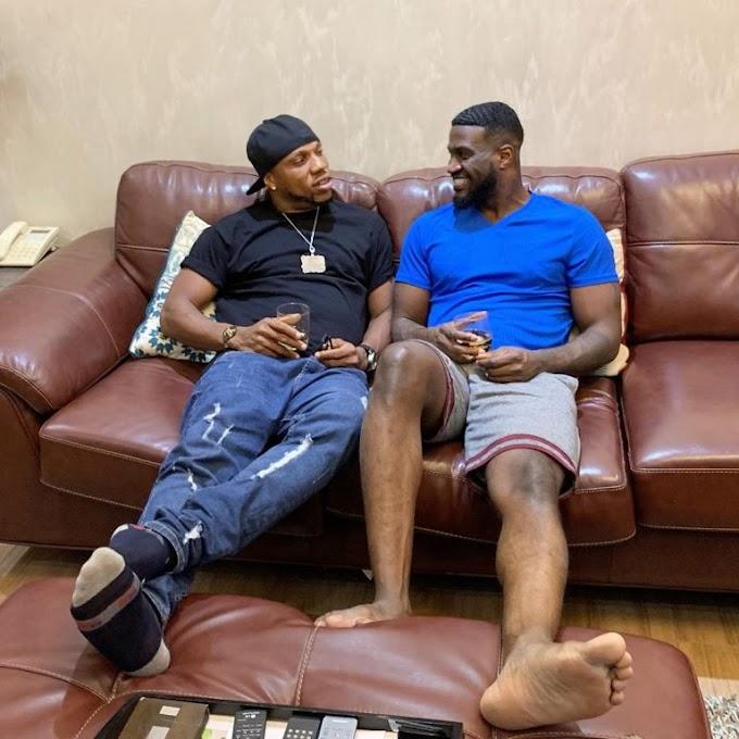 Charles Okocha visits Peter Okoye in his mansion (See Photos)