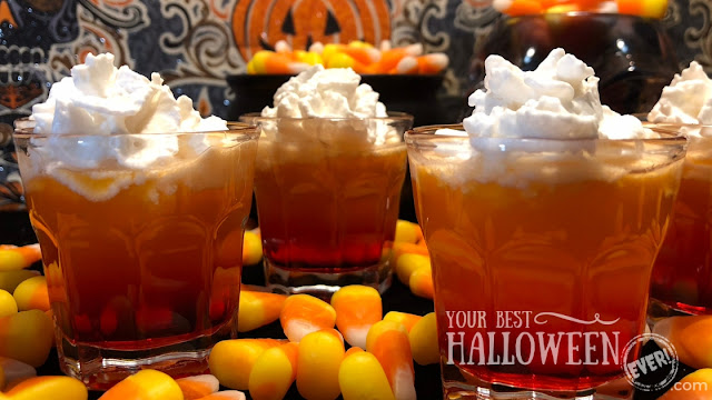 candy corn shots, Halloween cocktail recipe, layered drinks