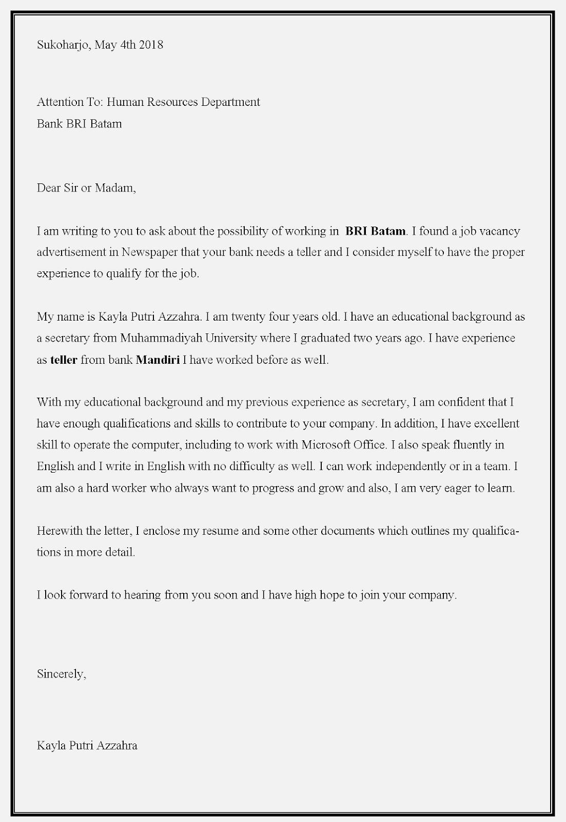 Contoh surat lamaran kerja Bank BRI dalam bahasa Inggris
