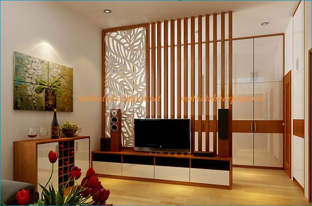 Vách ngăn gỗ kèm kệ tivi đẹp cho phòng khách