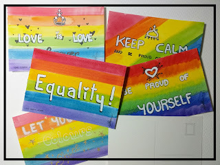 LGBTQ PRIDE postcards by Elizabeth Casua, tHE 33ZTH oRDER. Watercolours + markers