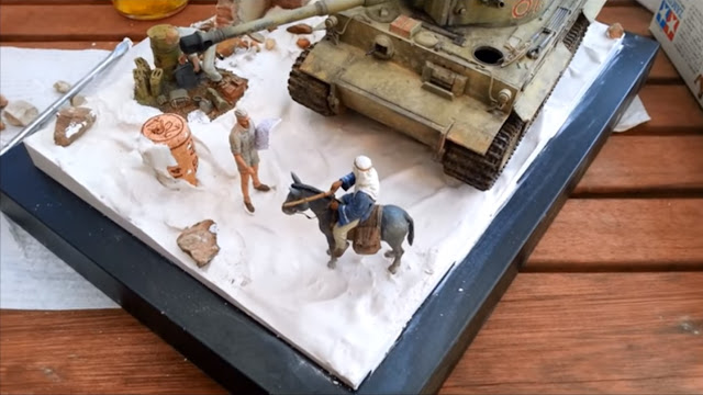 Plaster of Paris is poured on top of shaped polystyrene in my Tunisian Tiger diorama