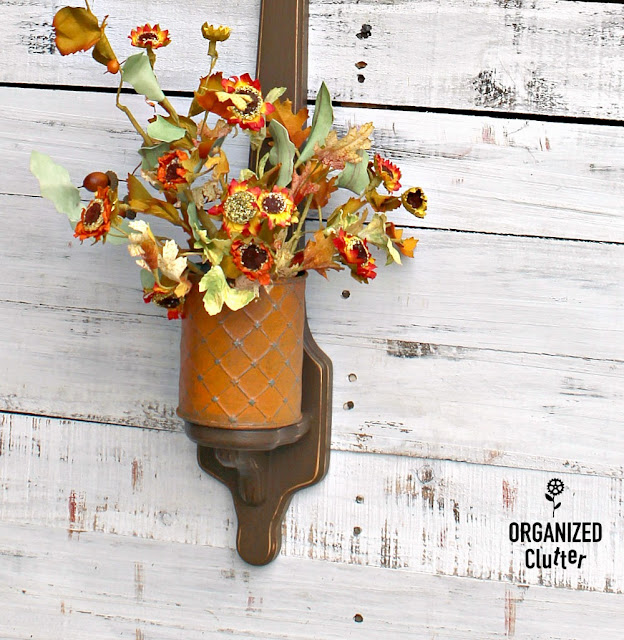 Wooden Candle Sconce Re-Purposed As Fall Decor