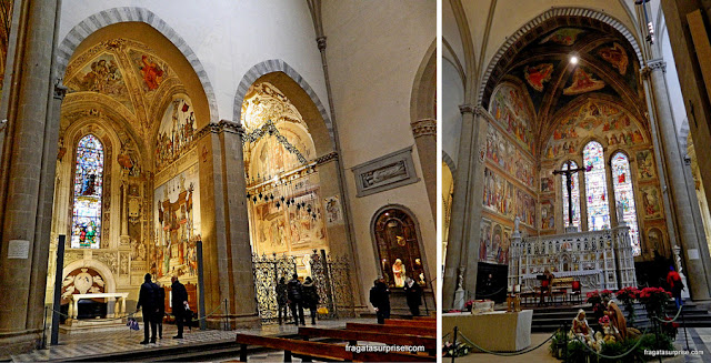 Capela Strozzi e o altar-mor da Basílica de Santa Maria Novella, em Florença