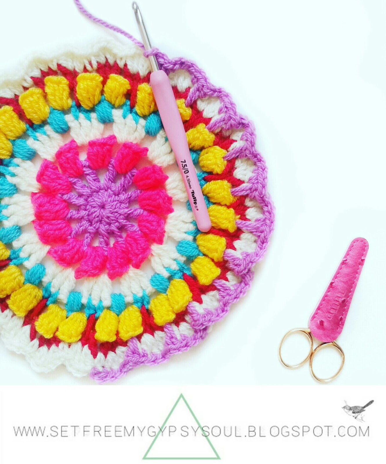 free flower mandala pattern crochet boho hippie tutorial gypsy