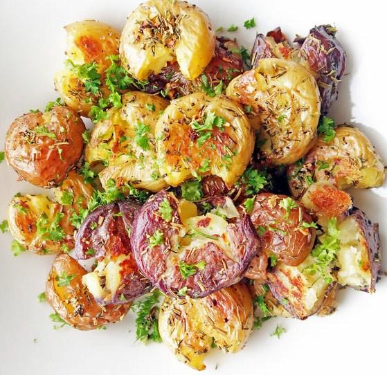 Vegan + Gluten Free Crispy Garlic Smashed Baby Potatoes