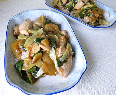 Stir-Fried Chicken with Chard, Snow Peas, Onion and Zucchini
