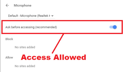 how to allow microphone access on chrome browser