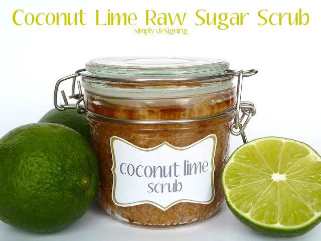closed jar filled with coconut lime raw sugar scrub surrounded by fresh limes on a white background