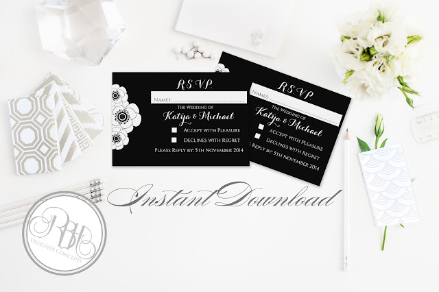 black and white anemone rsvp by rbh designer concepts