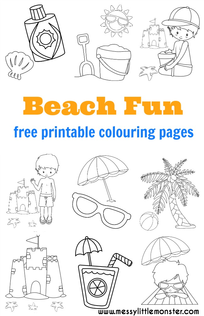 Beach Colouring Pages - Messy Little Monster