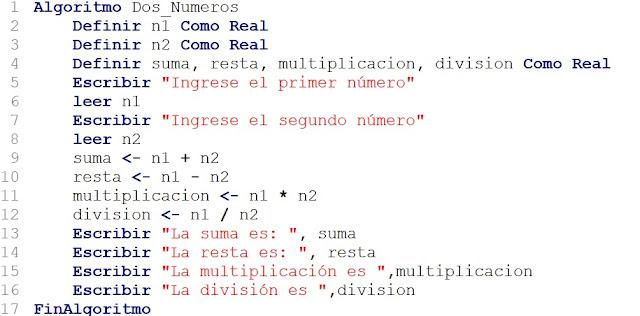 Algoritmo Sumar Restar Multiplicar y Dividir en PSeInt