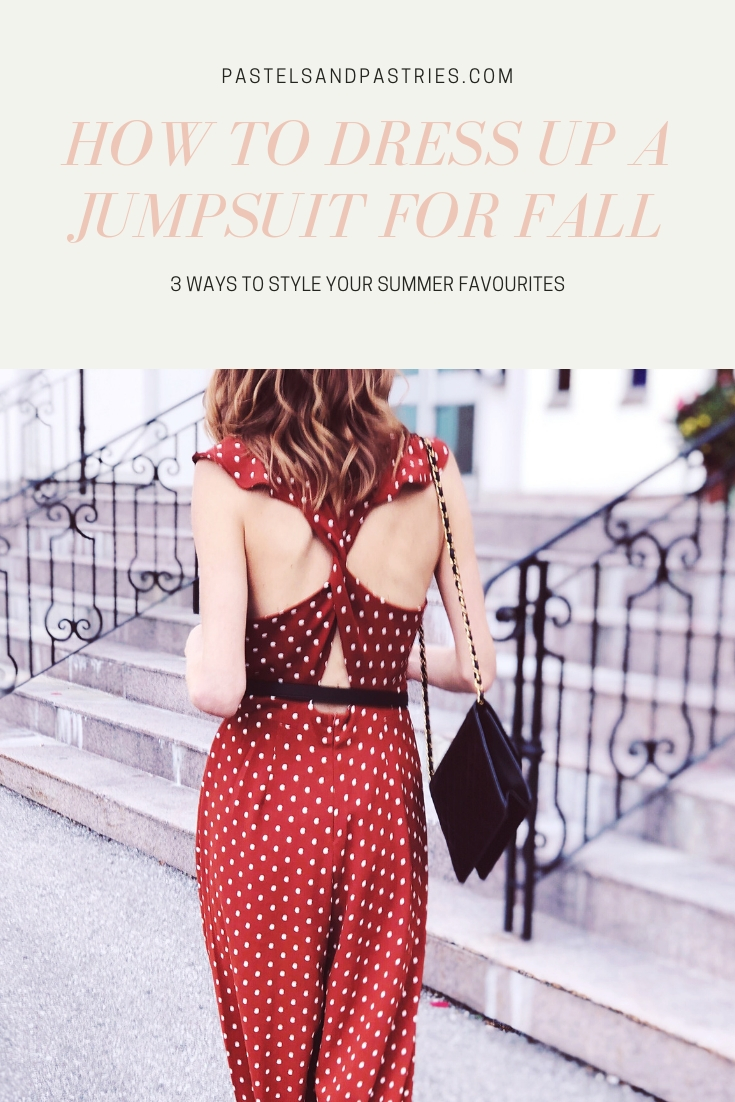 How to Dress Up a Jumpsuit for Fall , Style a Jumpsuit, Forever 21 polka dot ginger jumpsuit, burnt orange, small Gucci Belt black, vintage Chanel flap bag, black heel slides, pastels & pastries, gabpacifico fall style