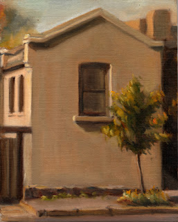 Oil painting of a small double-storey Victorian-era building with a small tree in front.