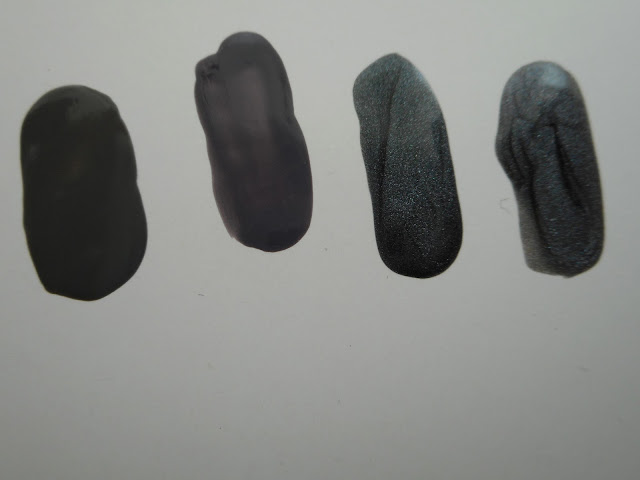 Left-to-right: Essence #53 rock my world!, Peggy Sage smoky mat #322, Clinique #32 made of steel, Essence #19 gray matters