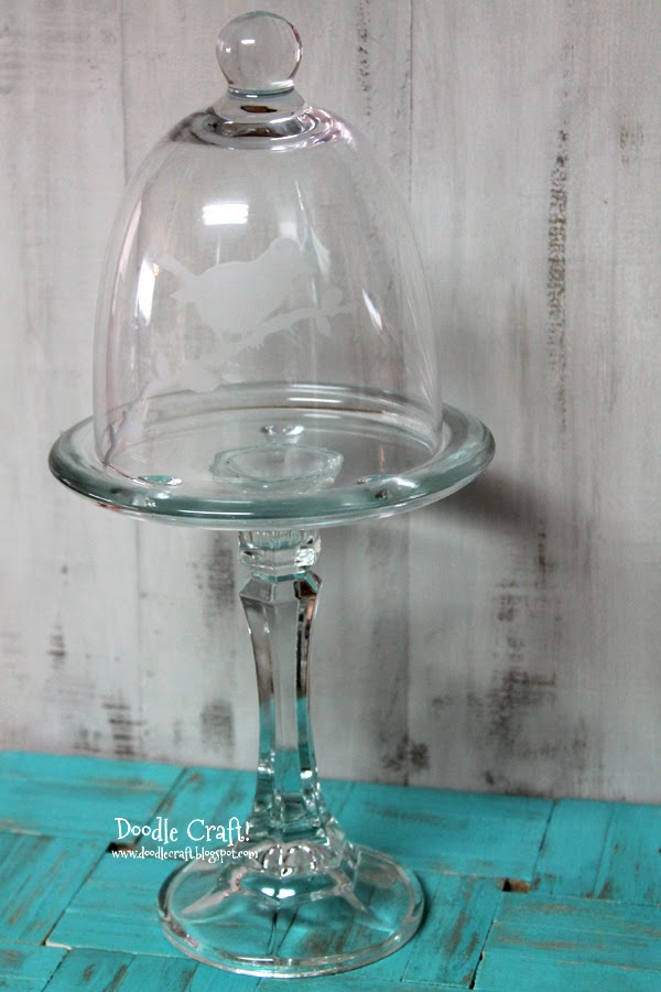 Kids Glass Etched Cupcake Stand, Single Glass Cupcake Stand With Dome
