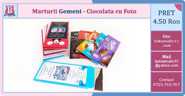 marturii gemeni cutii de ciocolata cu fotografie