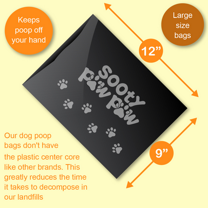 Diagram showing size of Sooty Paw Paw Poop Bags