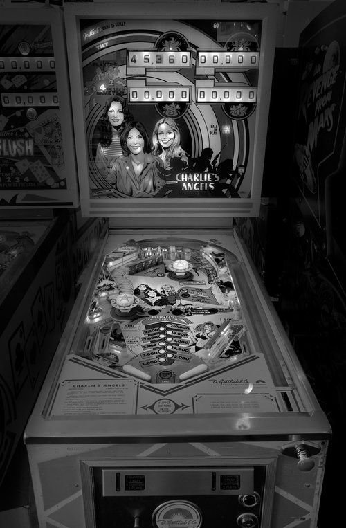 12-Charlie-s-Angels-Michael-Massaia-Black-and-White-Photographs-Funfair-and-Pinball-Machine-www-designstack-co