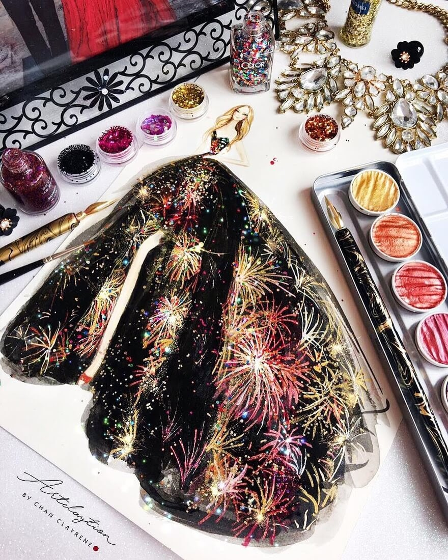 03-Couture-in-Sparking-Firework-Clayrene-Chan-Drawings-of-Lavish-Flowing-Dress-Designs-www-designstack-co