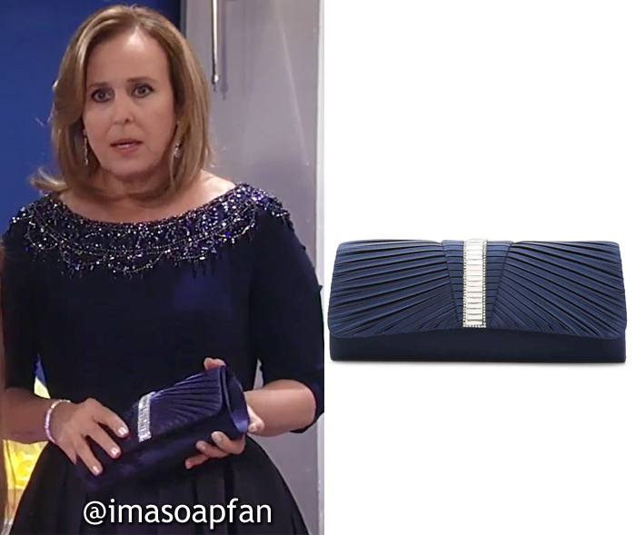 Laura Spencer, Genie Francis, Navy Blue Pleated Clutch, Nurses Ball, General Hospital, GH