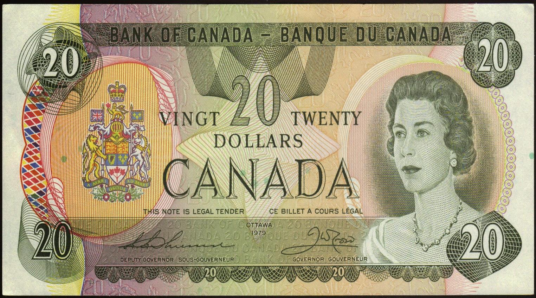 Canadian Banknotes 20 Dollar Note 1979 Queen Elizabeth Ii