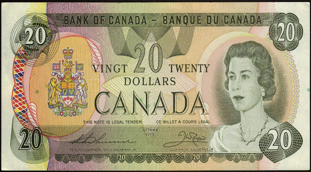 Canadian Banknotes 20 Dollar Note 1979 Queen Elizabeth II
