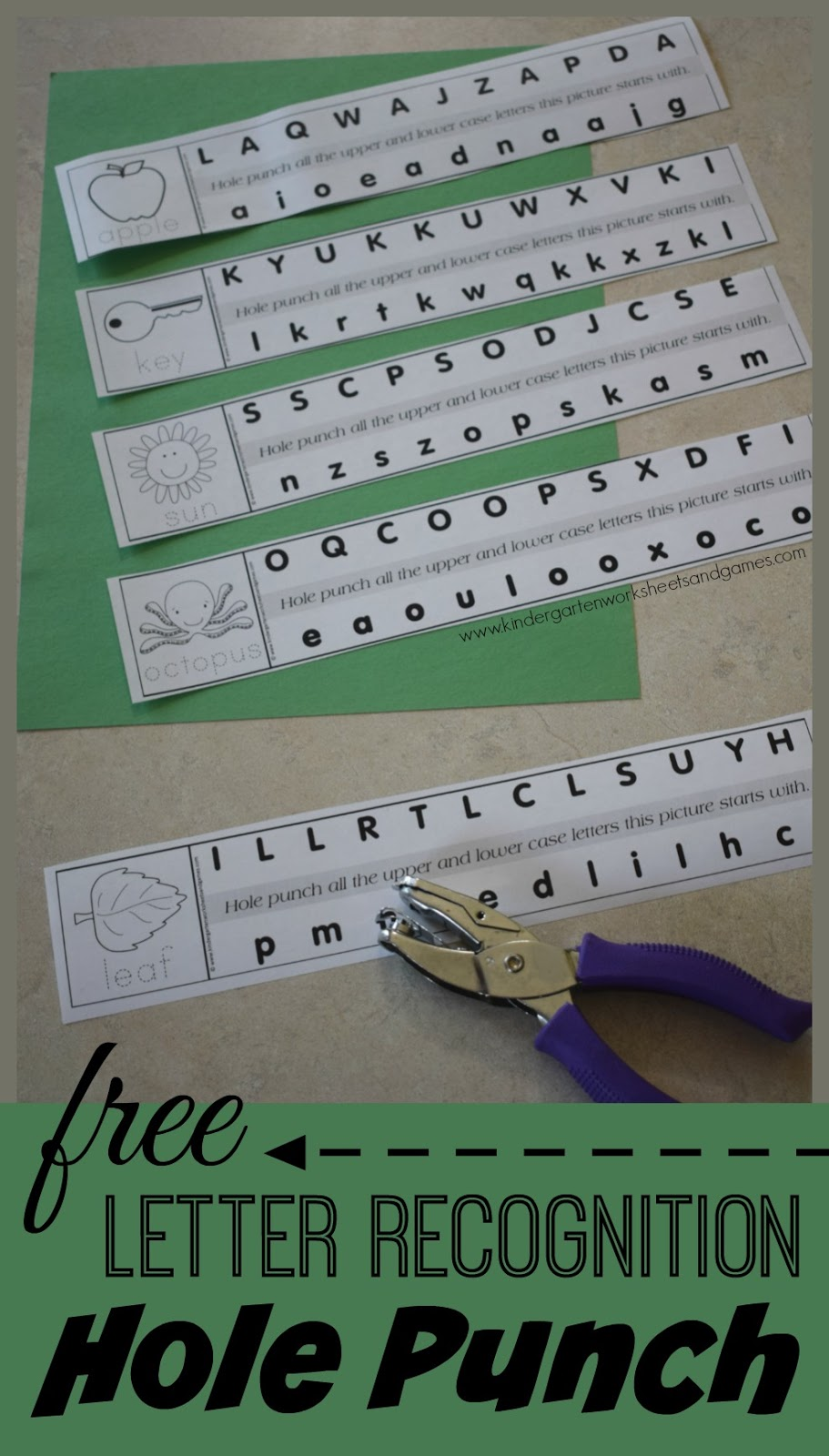 Kindergarten Worksheets And Games Free Alphabet Hole Punching