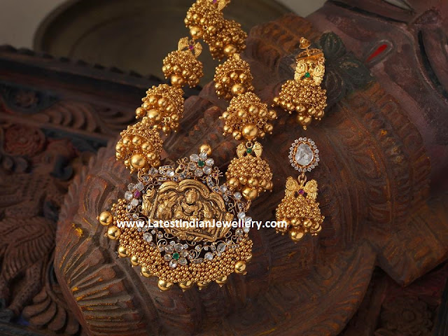 Gold Ghungroo Jhumka Necklace