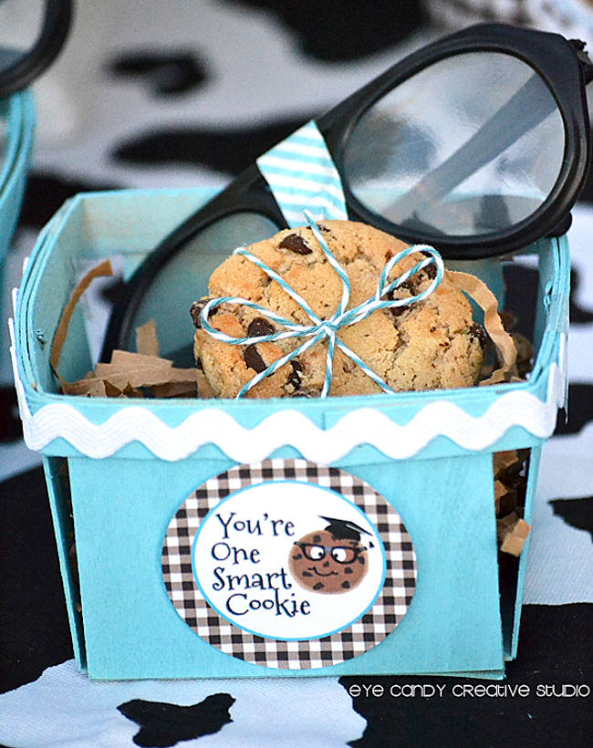 favor baskets, nerd glasses, chocolate chip cookie bundles