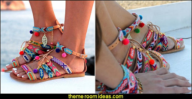 Boho Women Faux Leather Geometric Print Pom Pom Summer Ethnic Sandals