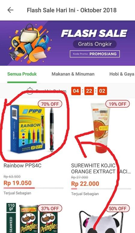 Pilih Produk Flash Sale Tokopedia