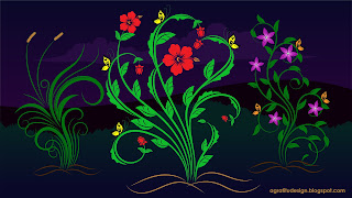 Flourishes floral elements Purple Night Vector Design
