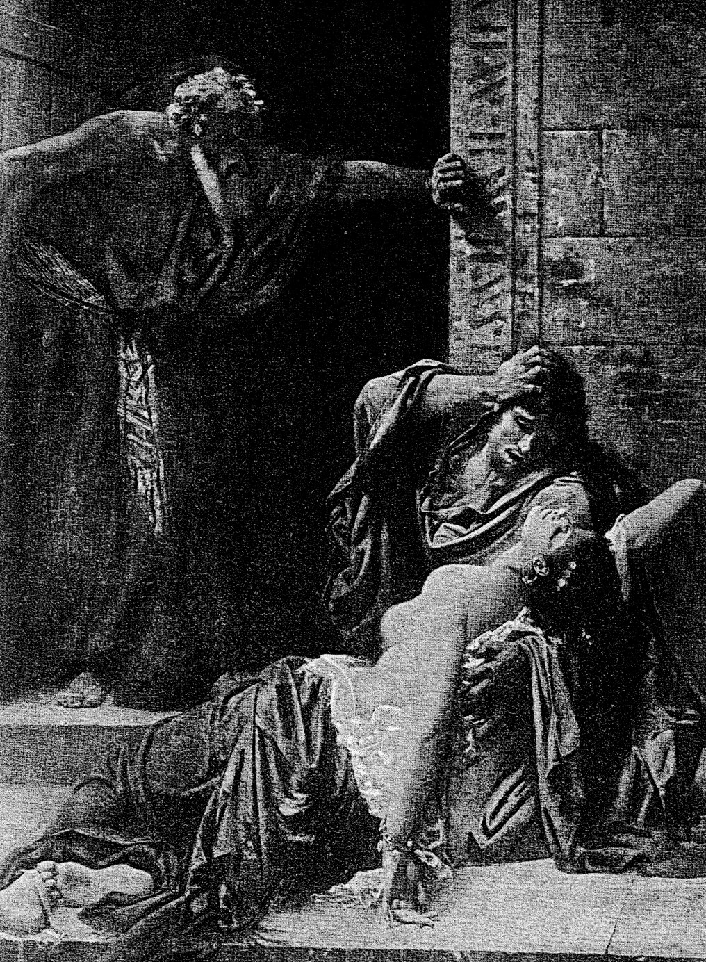 The Levite's concubine has fallen down at the door of the house, and her hands were upon the threshold. When she does not respond he took her up upon an ass.