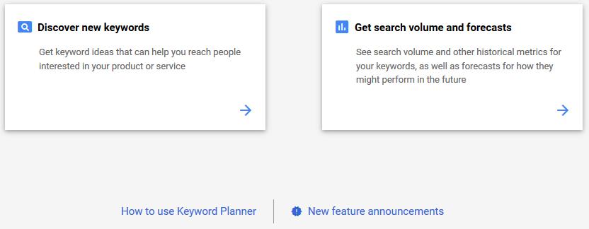 Google Keyword Planner Setup