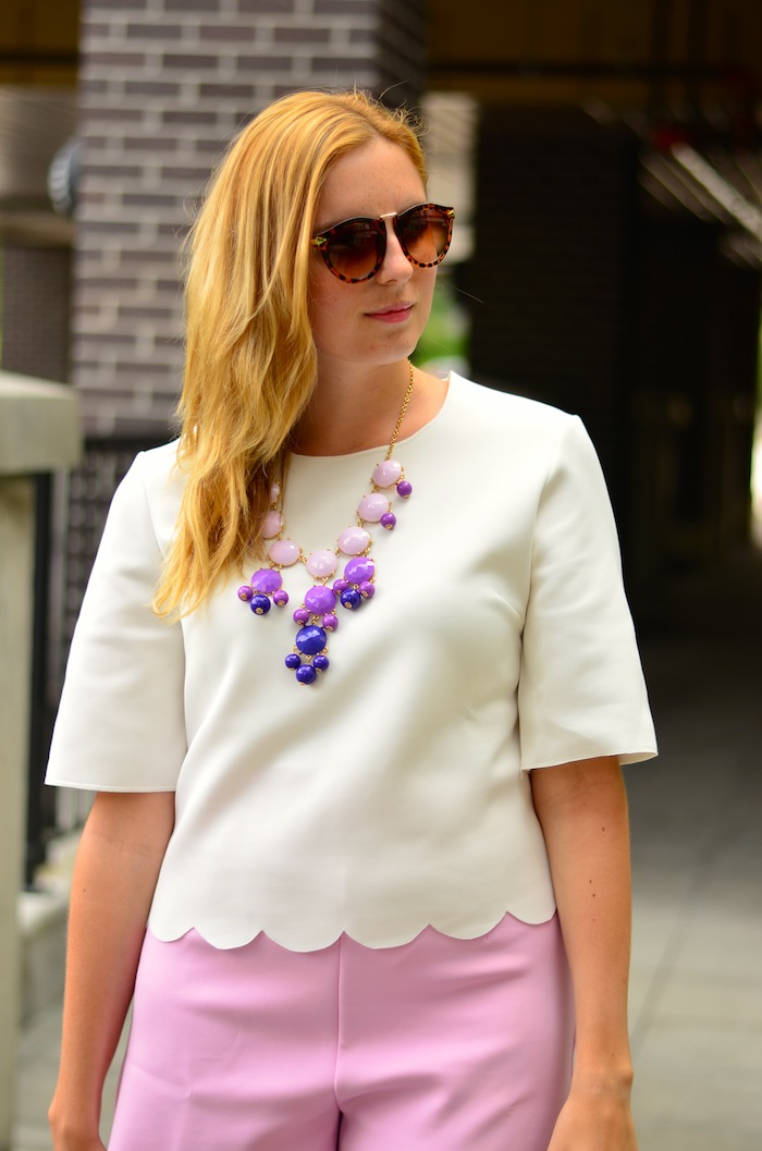 Pink Scalloped Shorts Outfit Idea
