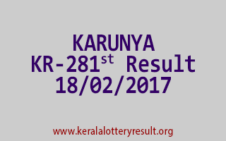 KARUNYA KR 281 Lottery Results 18-02-2017