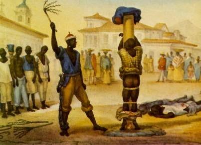 Aplicação do Castigo da Chibata - Debret, Jean-Baptiste  ~ Pinturas do Brasil colonial