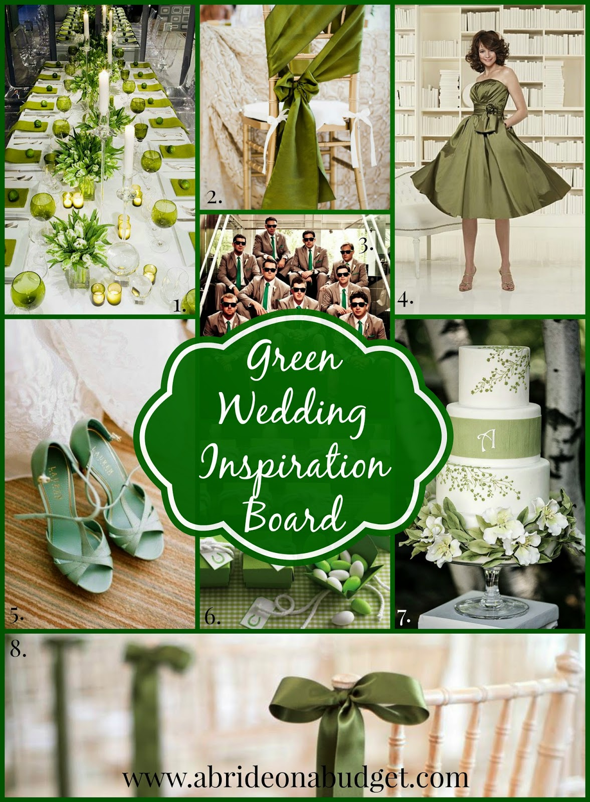 The coming of March always makes me think of green weddings (the color, not eco-friendly). If you've got them on the brain too, you're in luck. Check out the great green wedding inspiration board on www.abrideonabudget.com.