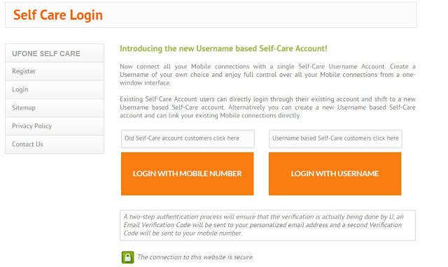 Ufone self care homepage