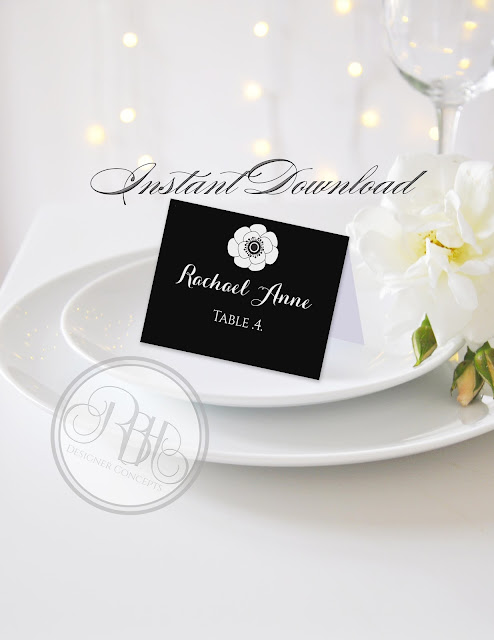 black and white anemone placecards by rbh designer concepts