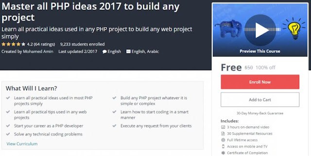 [100% Off] Master all PHP ideas 2017 to build any project| Worth 50$