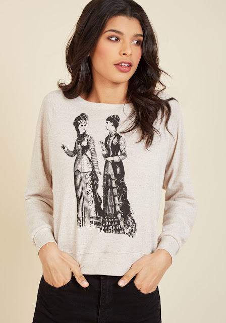 Women's shirt with screenprint of 2 victorian ladies in gowns. victorian and steampunk fashion and clothing