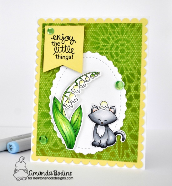 Lily of the Valley Flower Card by Amanda Bodine | Little Lilies and Newton's Costume Party Stamp Sets by Newton's Nook Designs #newtonsnook #handmade