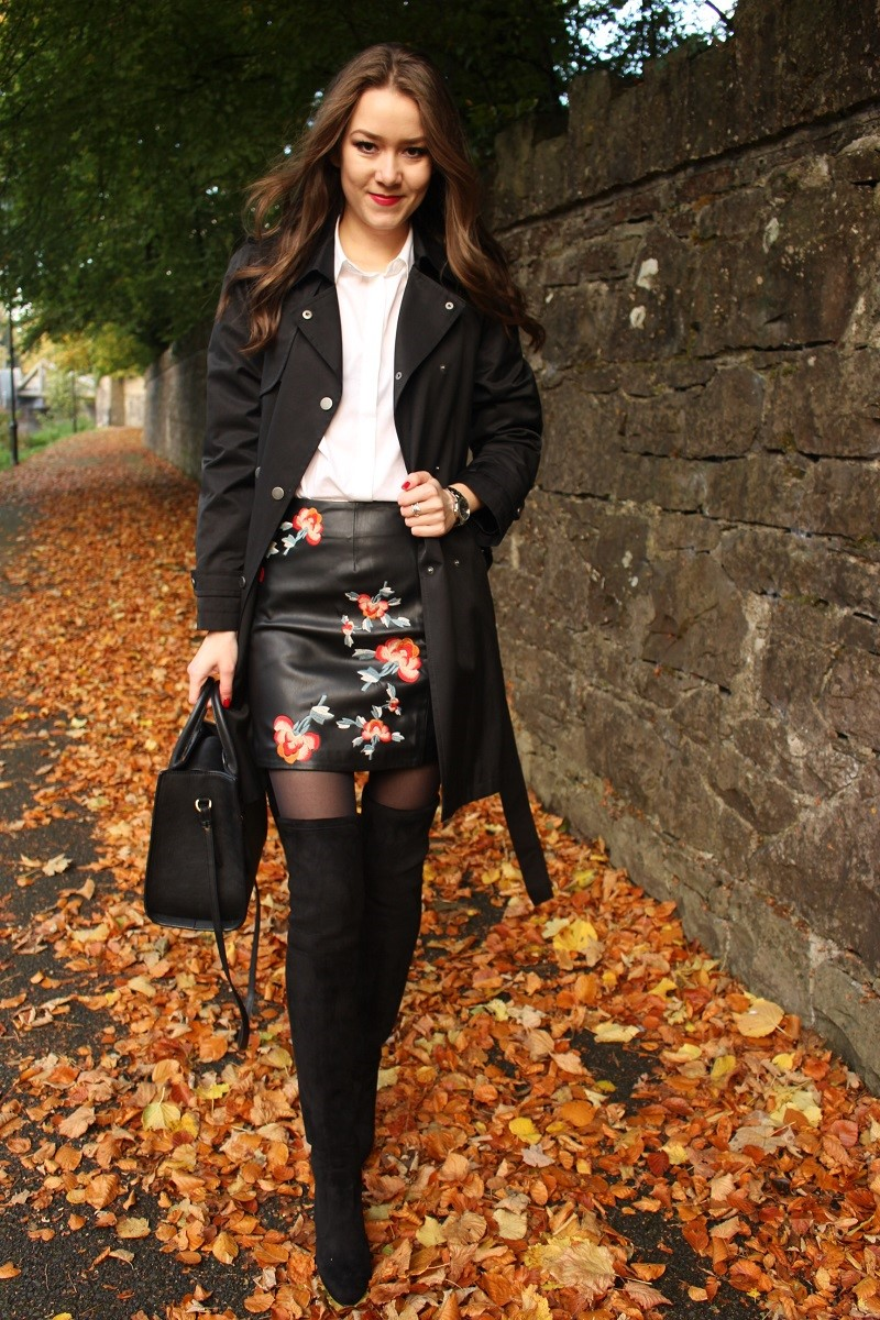 embroidery skirt, white shirt and over-knee boots