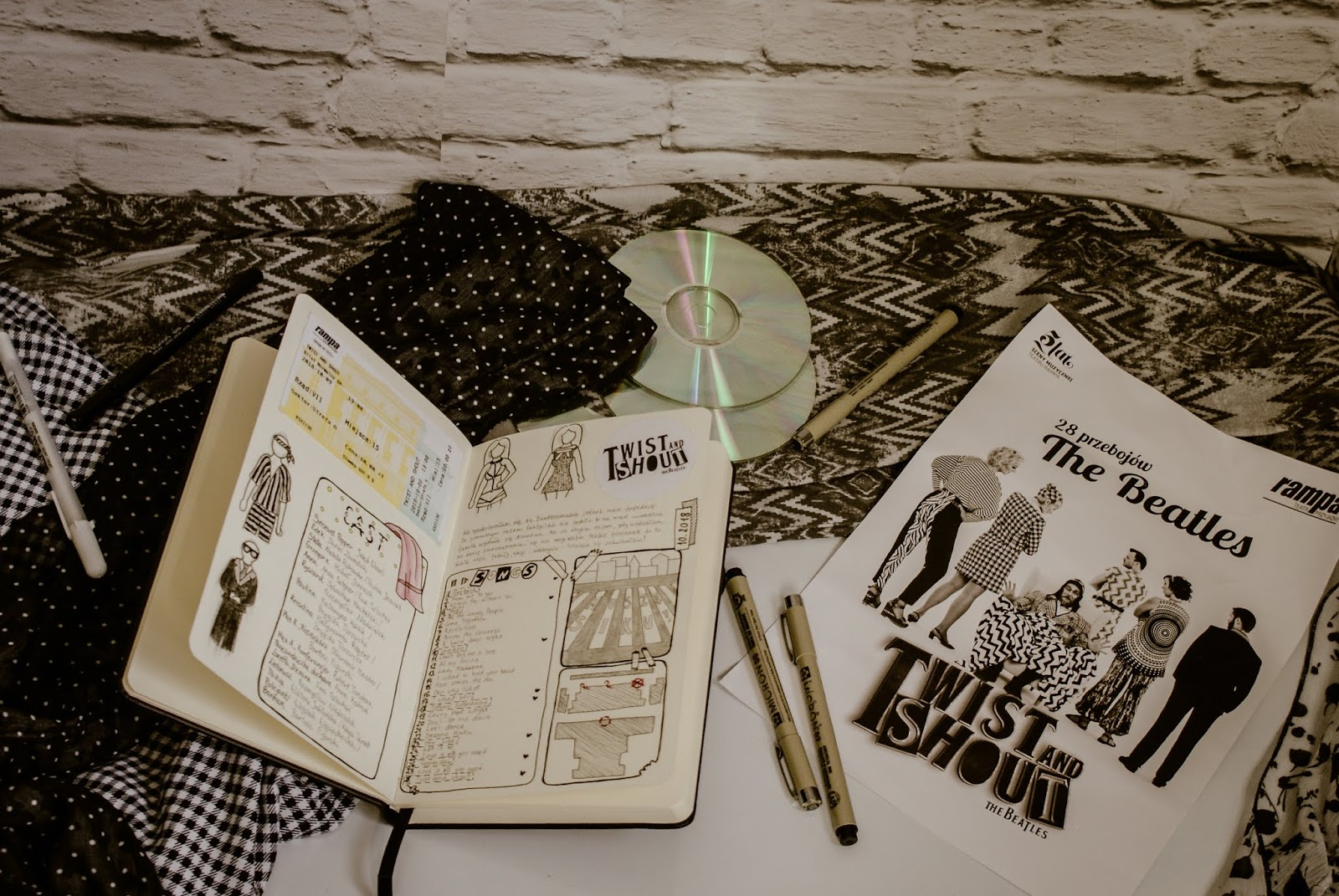 Twist and Shout musical zdjęcia bullet journal art rysunek