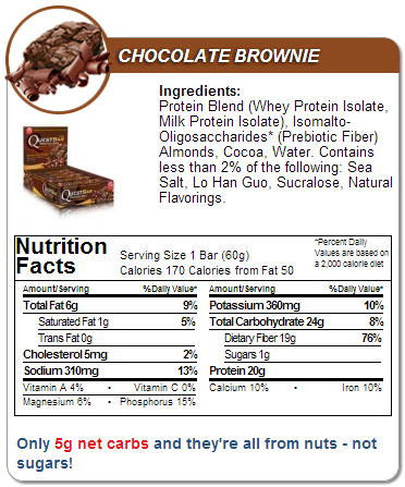Quest Chocolate Brownie Nutrition Facts