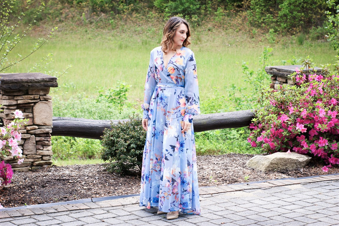 93f23e53953c Illuminate : Magical Blue Floral Chiffon Maxi Dress: Perfect For A ...