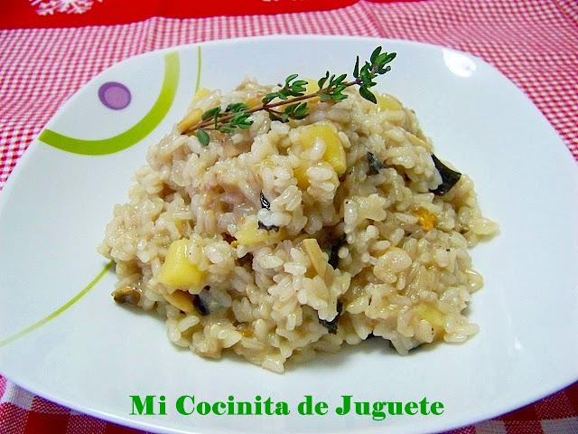 Arroz Meloso con Setas, Manzana y Foie de Pato