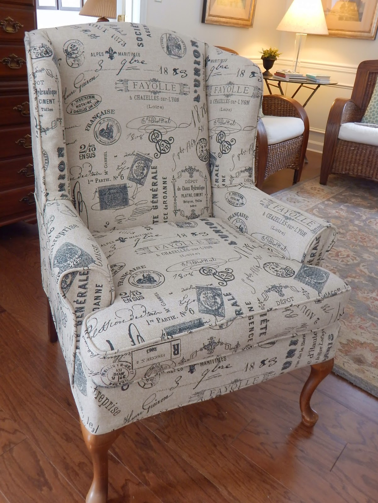 Pam Morris Sews Printed Linen Slipcover For A Wing Chair